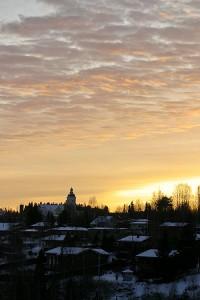 Leppävirran kirkonkylä kuvattuna Leppävirran sillalta