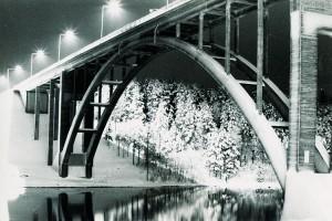 Talvinen postikortti Leppävirran sillasta<br />