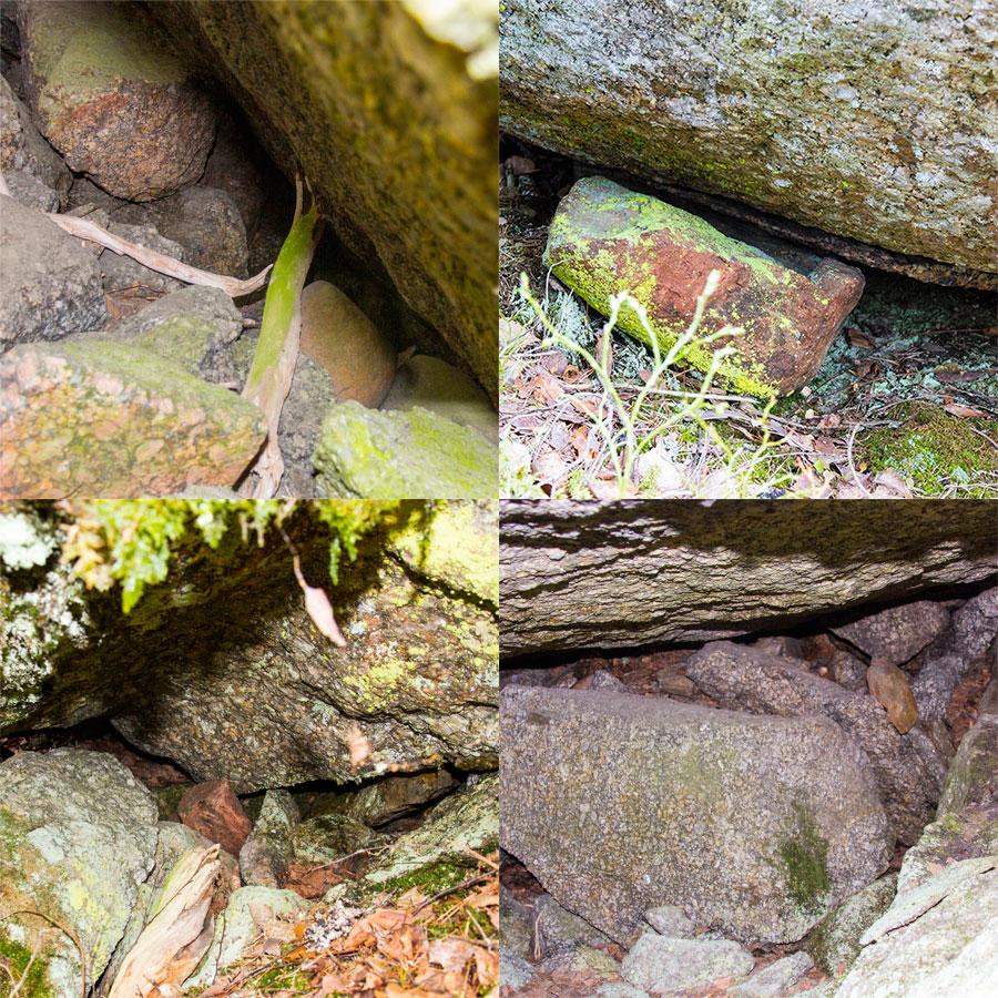 Punaisia kiviä luolissa ja kiven alla