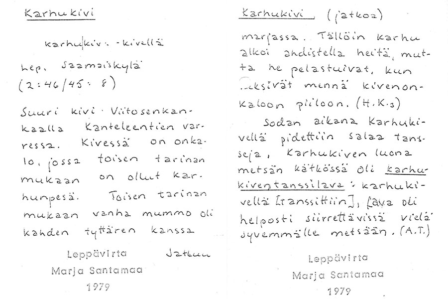 Paikannimikortit Karhukivestä Saamaisista