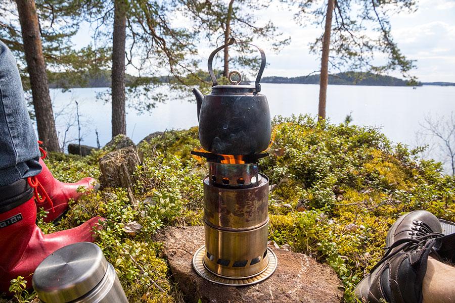 Evästelyä, Linnansaaren kansallispuisto, Haukivesi, Rantasalmi